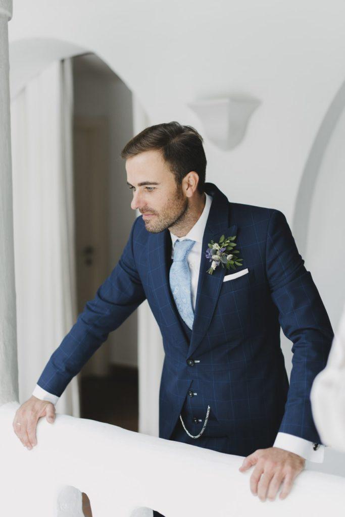"""Detalle del traje en lana italiana 120 azul """"Blue Feel"""""""