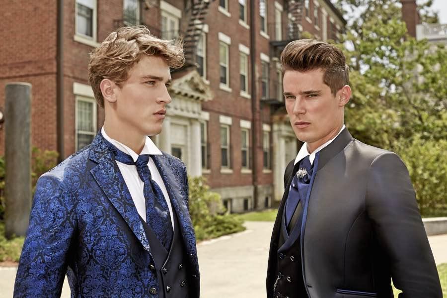 Trajes para novio brocados en tonos azules, de Guglielmo G.